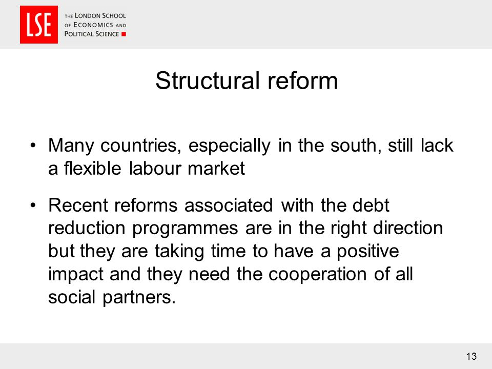 Structural reform Many countries, especially in the south, still lack a flexible labour market Recent reforms associated with the debt reduction programmes are in the right direction but they are taking time to have a positive impact and they need the cooperation of all social partners.