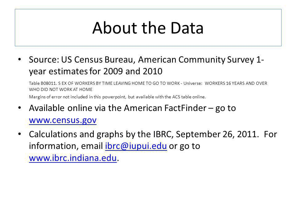 About the Data Source: US Census Bureau, American Community Survey 1- year estimates for 2009 and 2010 Table B08011.