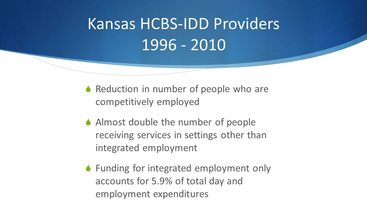 Kansas HCBS-IDD Providers 1996 - 2010 Reduction in number of people who are competitively employed Almost double the number of people receiving services in settings other than integrated employment Funding for integrated employment only accounts for 5.9% of total day and employment expenditures