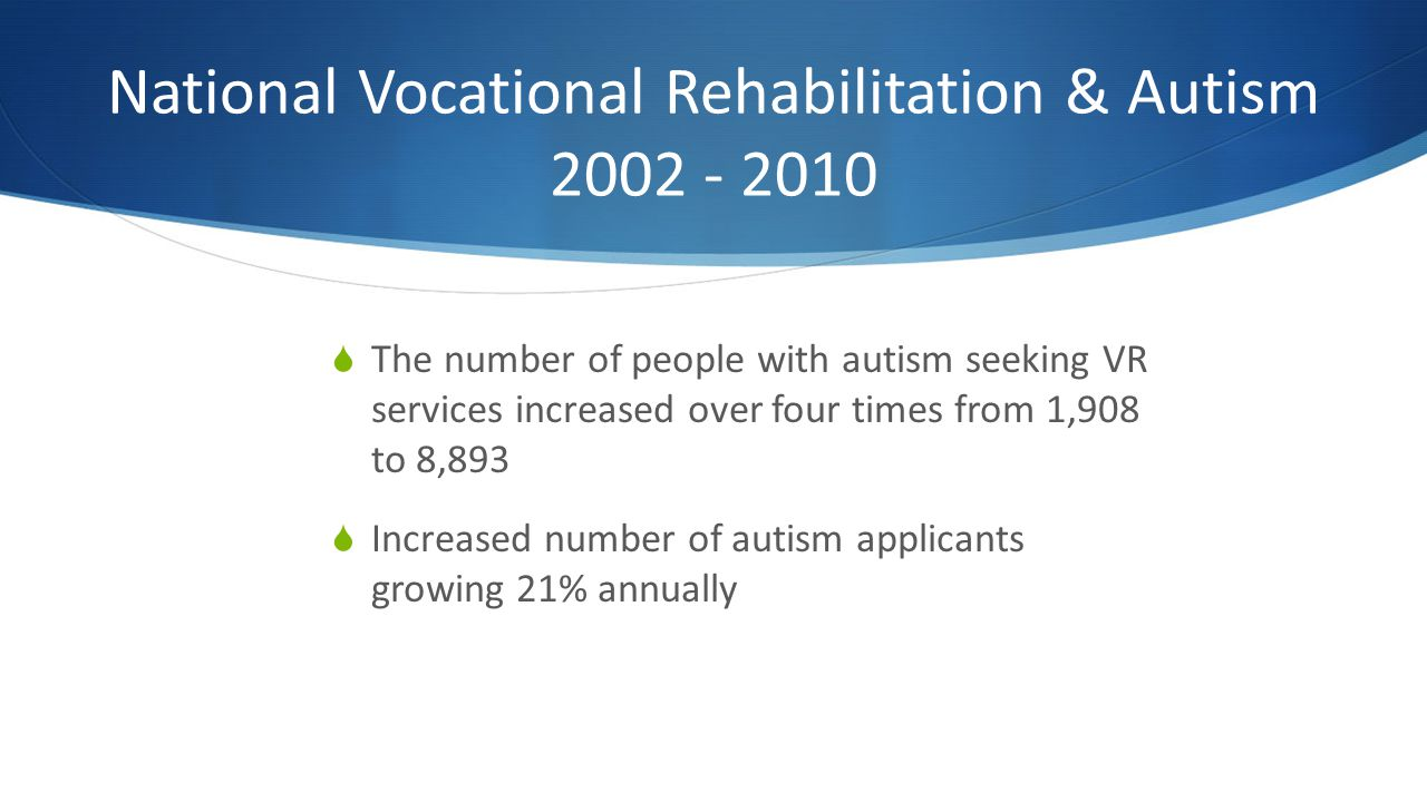 National Vocational Rehabilitation & Autism 2002 - 2010 The number of people with autism seeking VR services increased over four times from 1,908 to 8