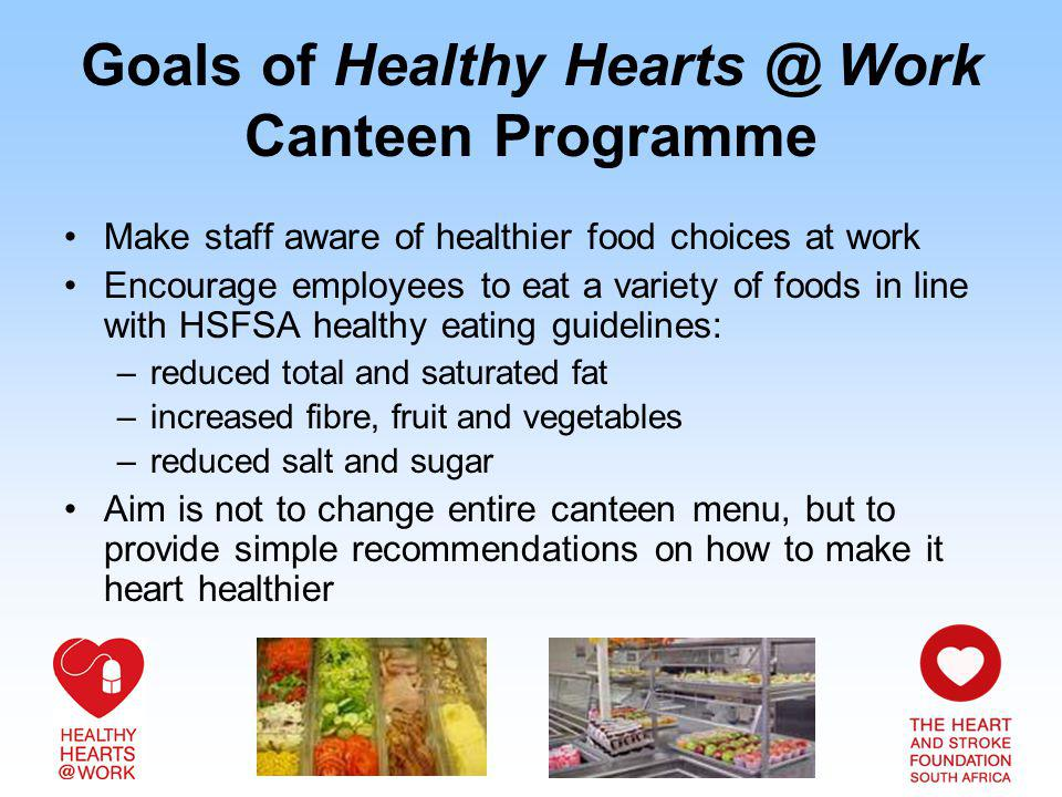 Goals of Healthy Work Canteen Programme Make staff aware of healthier food choices at work Encourage employees to eat a variety of foods in line with HSFSA healthy eating guidelines: –reduced total and saturated fat –increased fibre, fruit and vegetables –reduced salt and sugar Aim is not to change entire canteen menu, but to provide simple recommendations on how to make it heart healthier