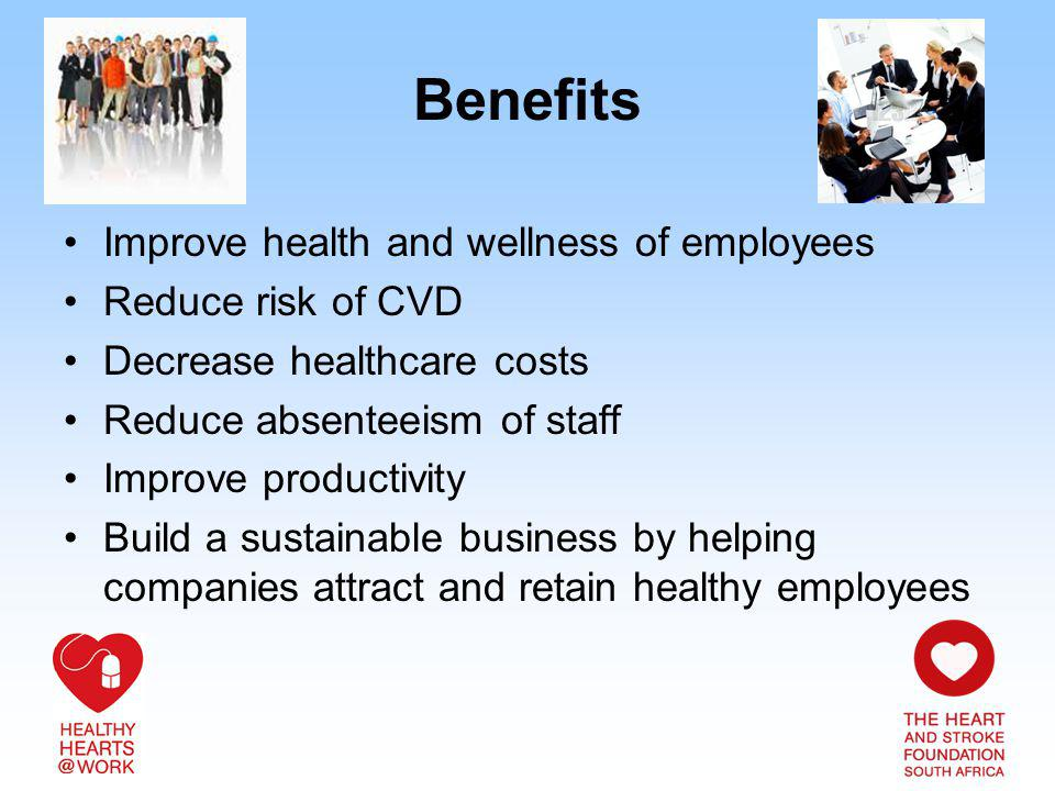 Benefits Improve health and wellness of employees Reduce risk of CVD Decrease healthcare costs Reduce absenteeism of staff Improve productivity Build a sustainable business by helping companies attract and retain healthy employees