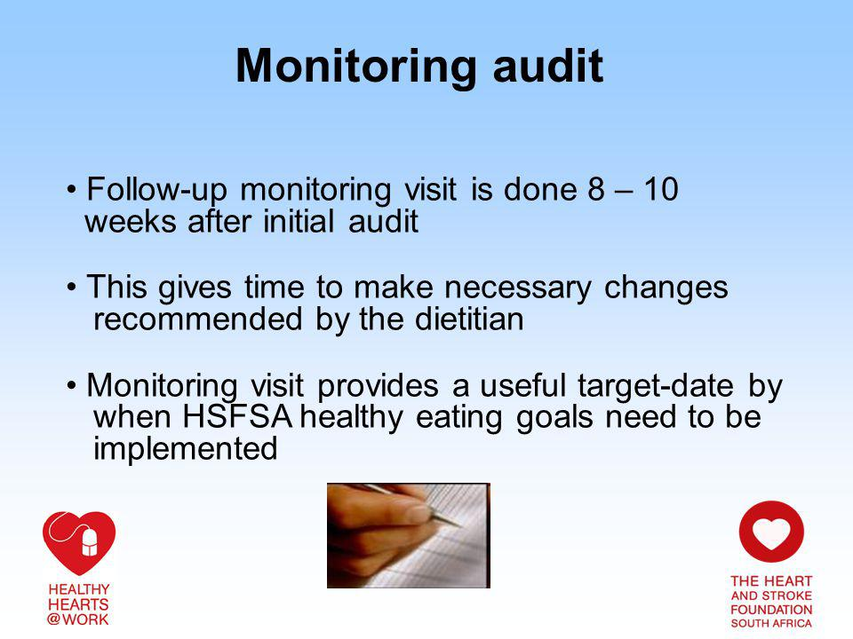 Monitoring audit Follow-up monitoring visit is done 8 – 10 weeks after initial audit This gives time to make necessary changes recommended by the diet
