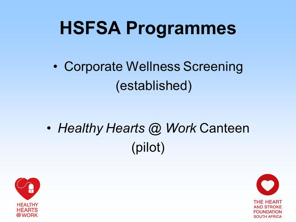 HSFSA Programmes Corporate Wellness Screening (established) Healthy Hearts @ Work Canteen (pilot)