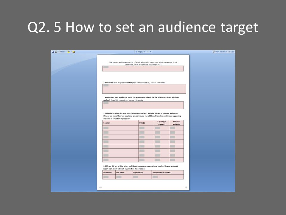 Q2. 5 How to set an audience target