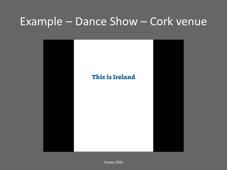 Example – Dance Show – Cork venue Census 2011