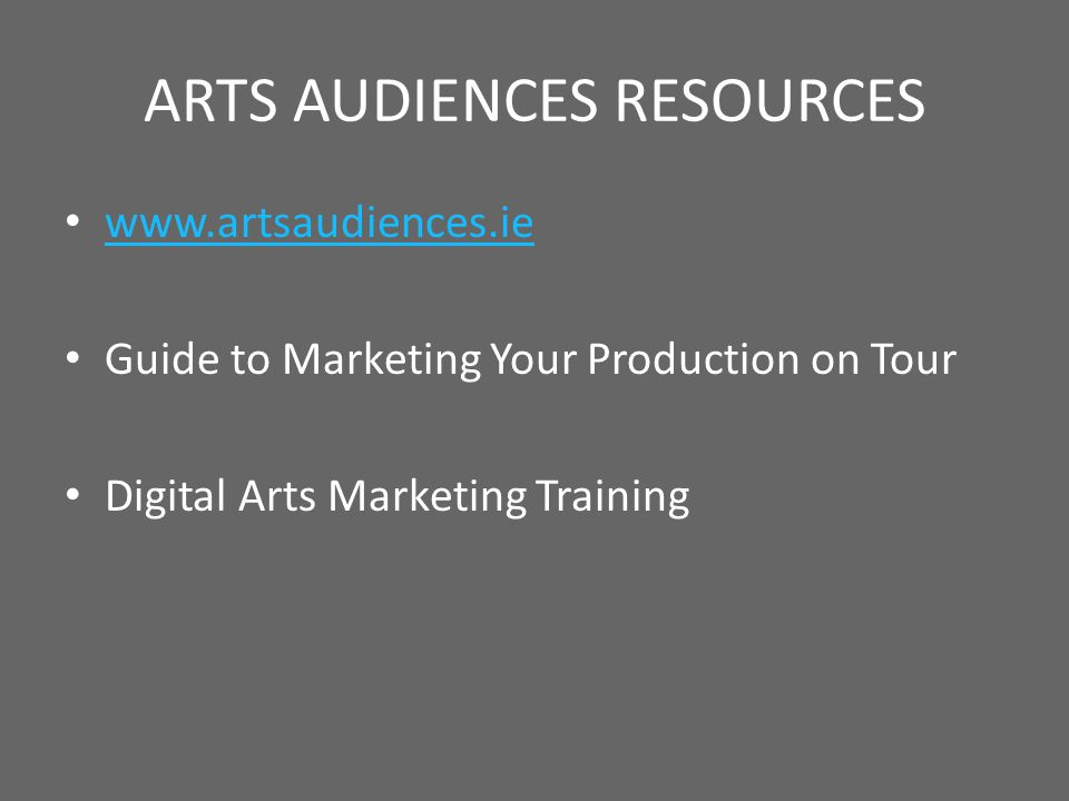 Extract from Marketing Your Production on Tour Setting marketing budgets The budget you need will depend on these factors: · the size of venue: bigger venues have more tickets to sell and so need more marketing materials · the type of event: new or challenging work needs more time and money spent on it · past audiences: a company with a well-established audience at a particular venue will need to invest fewer resources · the promoters programme: if the promoter does not regularly present your art form or type of work, both you and they will need to invest more resources · the financial agreement: the level of risk your company is taking will influence the time and money you need to invest but even if the promoter is paying you a fee, you still have a responsibility to help them find an audience.