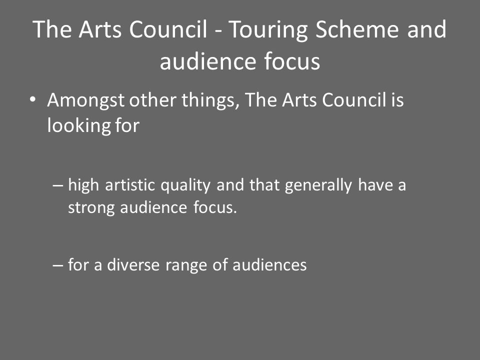 Marketing budget Basic promoter costs – incurred even if the venue is doing the marketing – Images, usually photography – Press pack for venues – Text for brochure – Materials for the website (buttons, sized images, trailers etc.) – Familiarisation costs Other possible costs PR professional Flyers and/or posters