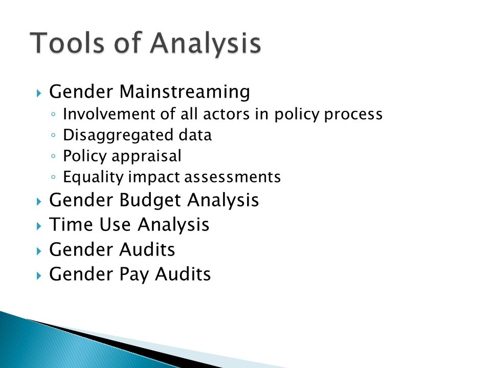 Gender Mainstreaming Involvement of all actors in policy process Disaggregated data Policy appraisal Equality impact assessments Gender Budget Analysis Time Use Analysis Gender Audits Gender Pay Audits