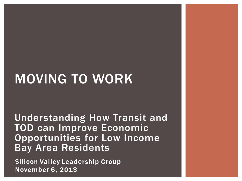 Objectives of Study Transportation Barriers for Low Income Workers Industries of Opportunity Recommendations PRESENTATION OVERVIEW