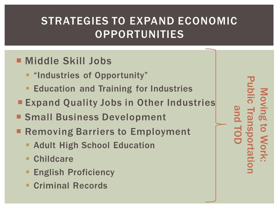 Middle Skill Jobs Industries of Opportunity Education and Training for Industries Expand Quality Jobs in Other Industries Small Business Development Removing Barriers to Employment Adult High School Education Childcare English Proficiency Criminal Records STRATEGIES TO EXPAND ECONOMIC OPPORTUNITIES Moving to Work: Public Transportation and TOD