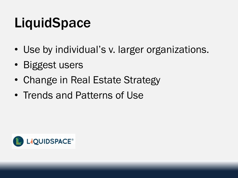 LiquidSpace Use by individuals v. larger organizations. Biggest users Change in Real Estate Strategy Trends and Patterns of Use