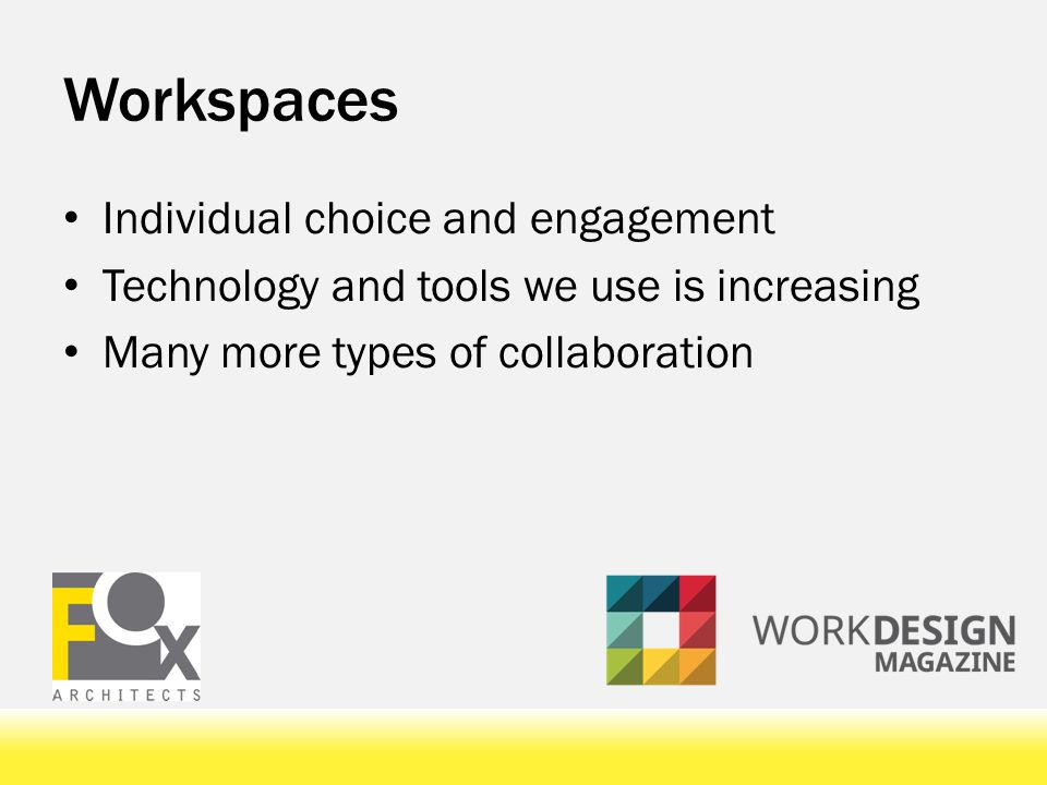 Workspaces Downsizing of traditional office space More highly flexible options Space on demand Activity based workspace