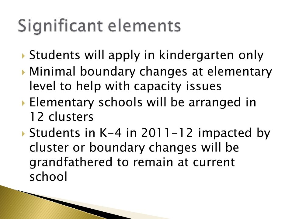 Each school shall have a diversity guideline between 1.4-2.5 Guideline will be applied to students in Kindergarten, 6 th & 9 th grades in 2012-13 English As a Second Language students will be included in the diversity guideline