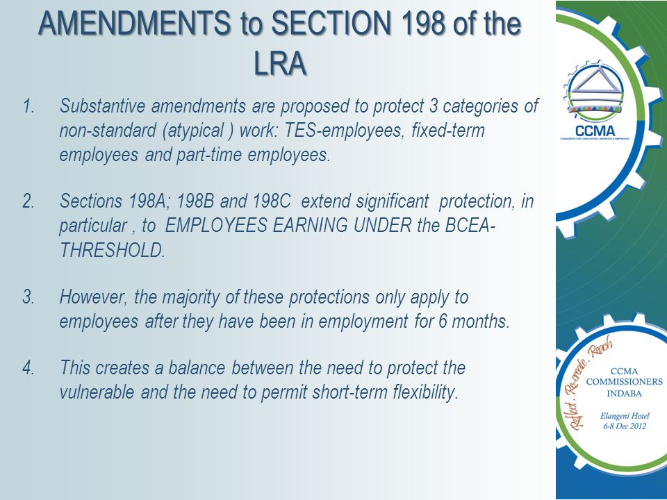 SECTION 198 – why the need to amend.