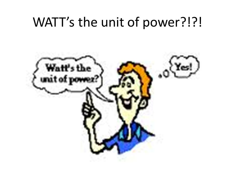 WATTs the unit of power?!?!