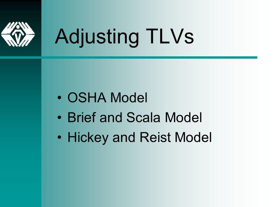 Adjusting TLVs OSHA Model Brief and Scala Model Hickey and Reist Model