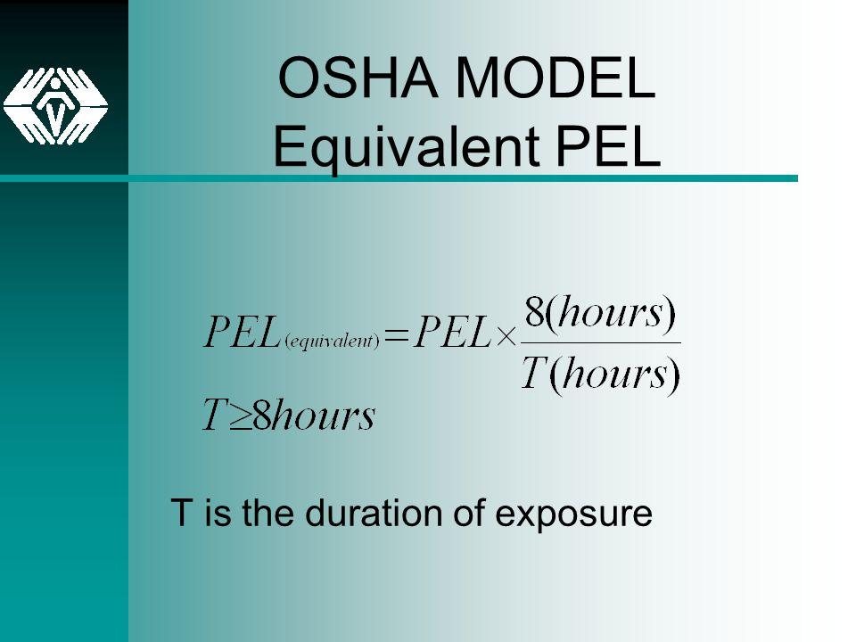 OSHA MODEL Equivalent PEL T is the duration of exposure