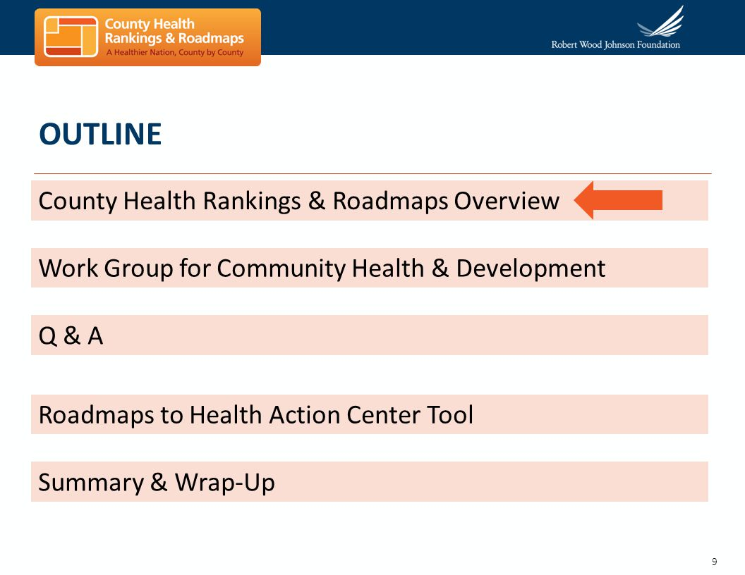 9 OUTLINE County Health Rankings & Roadmaps Overview Work Group for Community Health & Development Q & A Roadmaps to Health Action Center Tool Summary