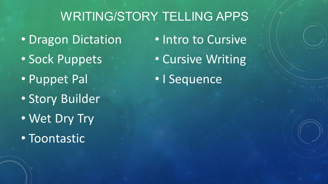 OTHER APPS Educreations See Touch Learn Kodable Hopscotch Move The Turtle Sammi Signs Signed Stories Switch Zoo Articulation Station Go Talk Now Dyslexia Quest Yes/No Tan n See Zoo My Play Home Lite Emotions Stories 2 Learn