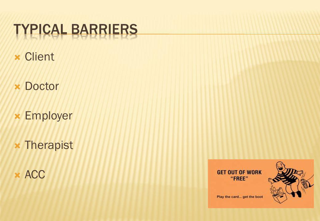 Client Doctor Employer Therapist ACC