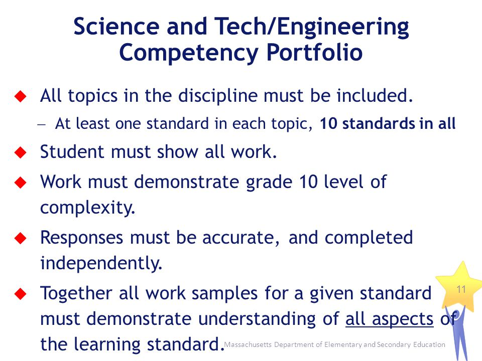 Massachusetts Department of Elementary and Secondary Education 11 Science and Tech/Engineering Competency Portfolio All topics in the discipline must