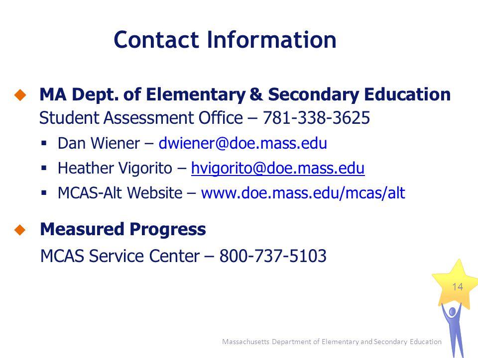 Massachusetts Department of Elementary and Secondary Education 14 MA Dept. of Elementary & Secondary Education Student Assessment Office – 781-338-362