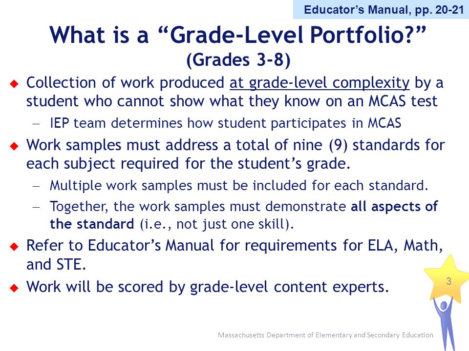 Massachusetts Department of Elementary and Secondary Education 3 What is a Grade-Level Portfolio? (Grades 3-8) Collection of work produced at grade-le