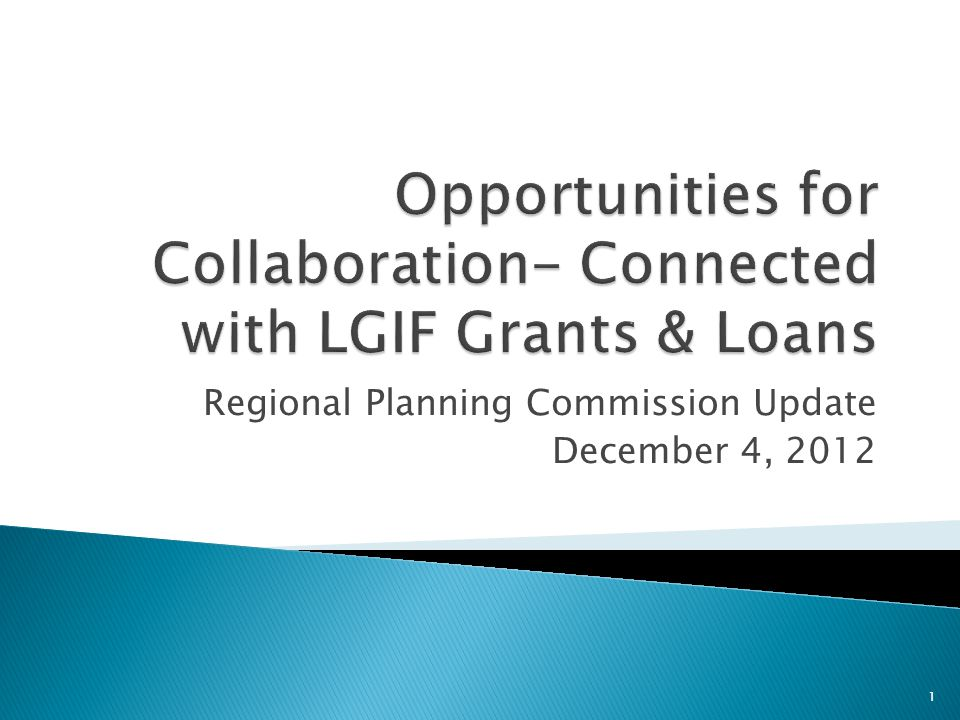 Regional Planning Commission Update December 4, 2012 1