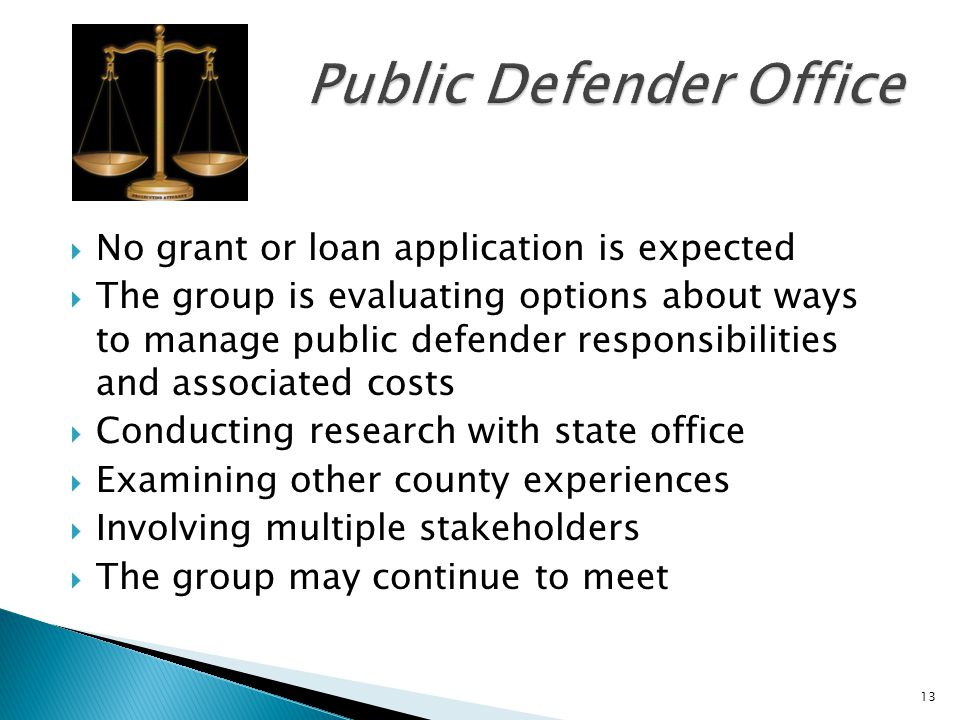 No grant or loan application is expected The group is evaluating options about ways to manage public defender responsibilities and associated costs Conducting research with state office Examining other county experiences Involving multiple stakeholders The group may continue to meet 13