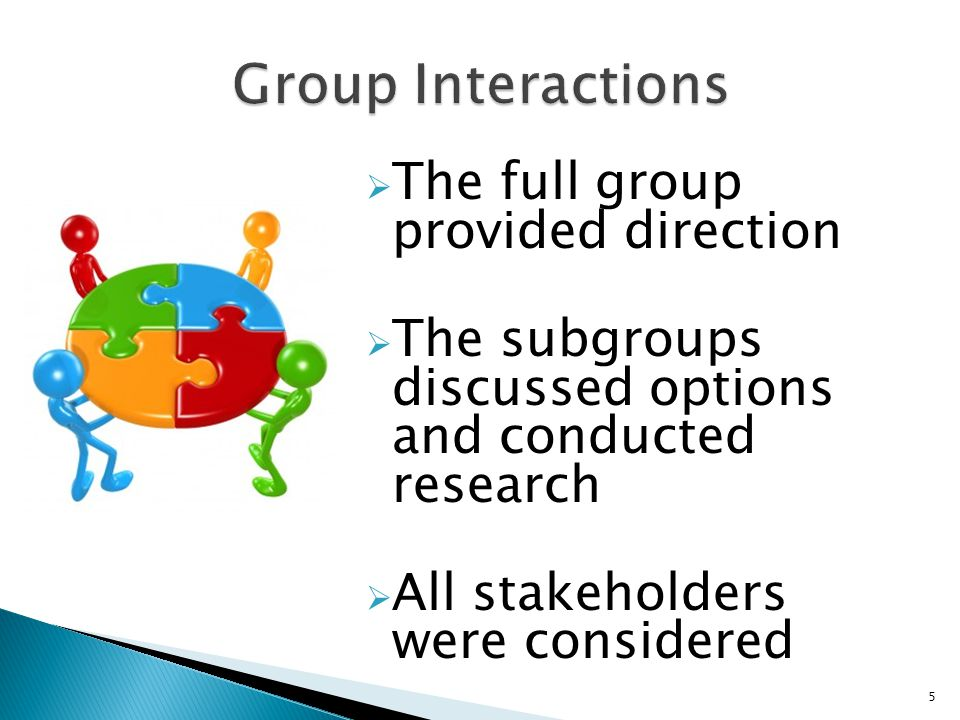 The full group provided direction The subgroups discussed options and conducted research All stakeholders were considered 5