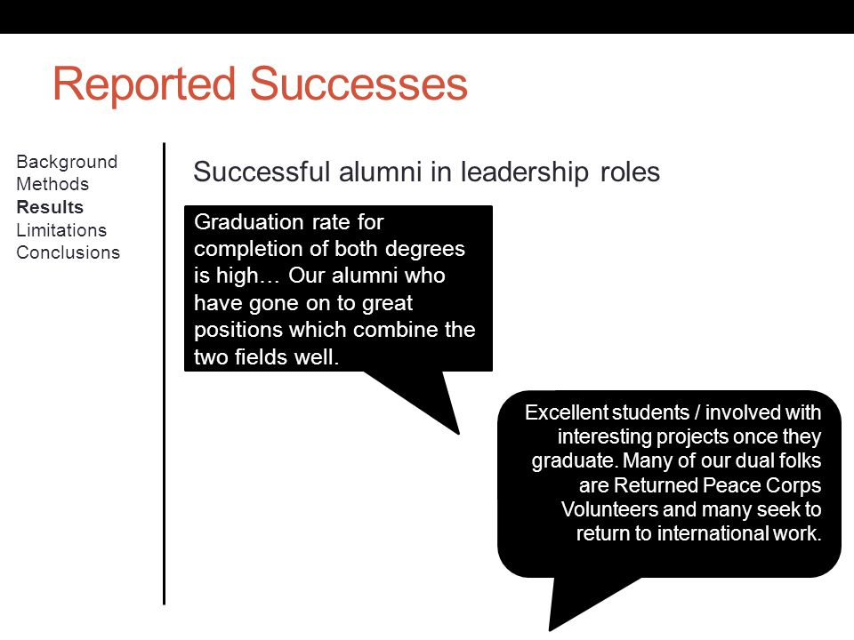 Reported Successes Background Methods Results Limitations Conclusions Successful alumni in leadership roles Excellent students / involved with interes
