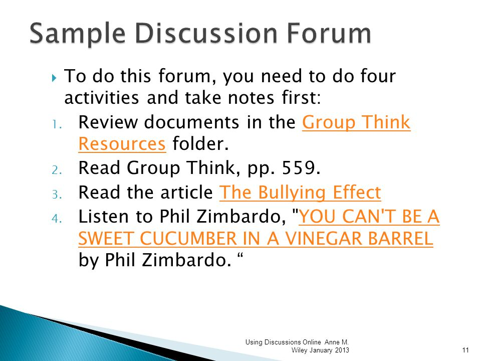 To do this forum, you need to do four activities and take notes first: 1.