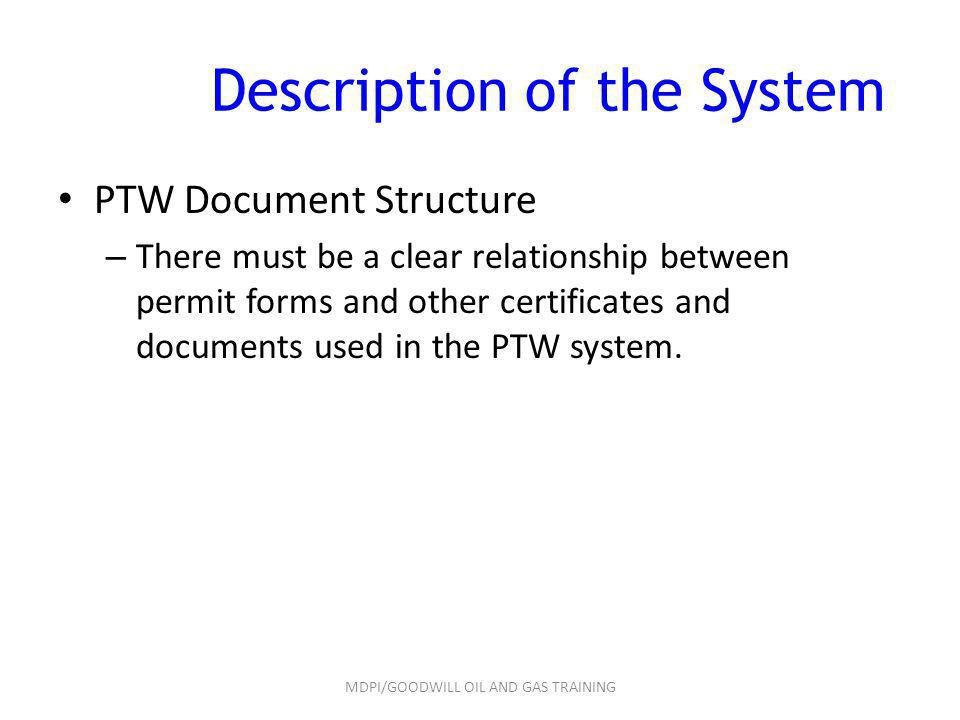 Description of the System PTW Document Structure – There must be a clear relationship between permit forms and other certificates and documents used i