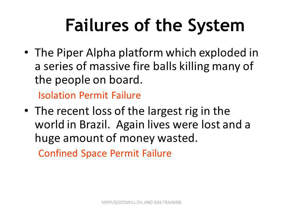 Failures of the System The Piper Alpha platform which exploded in a series of massive fire balls killing many of the people on board. Isolation Permit