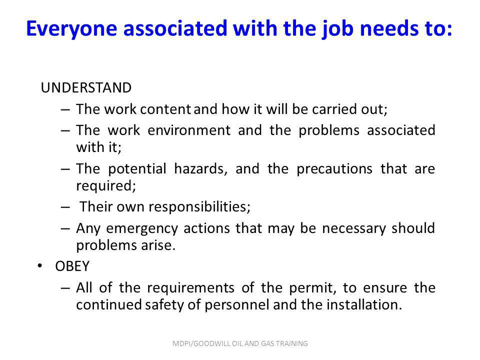 UNDERSTAND – The work content and how it will be carried out; – The work environment and the problems associated with it; – The potential hazards, and