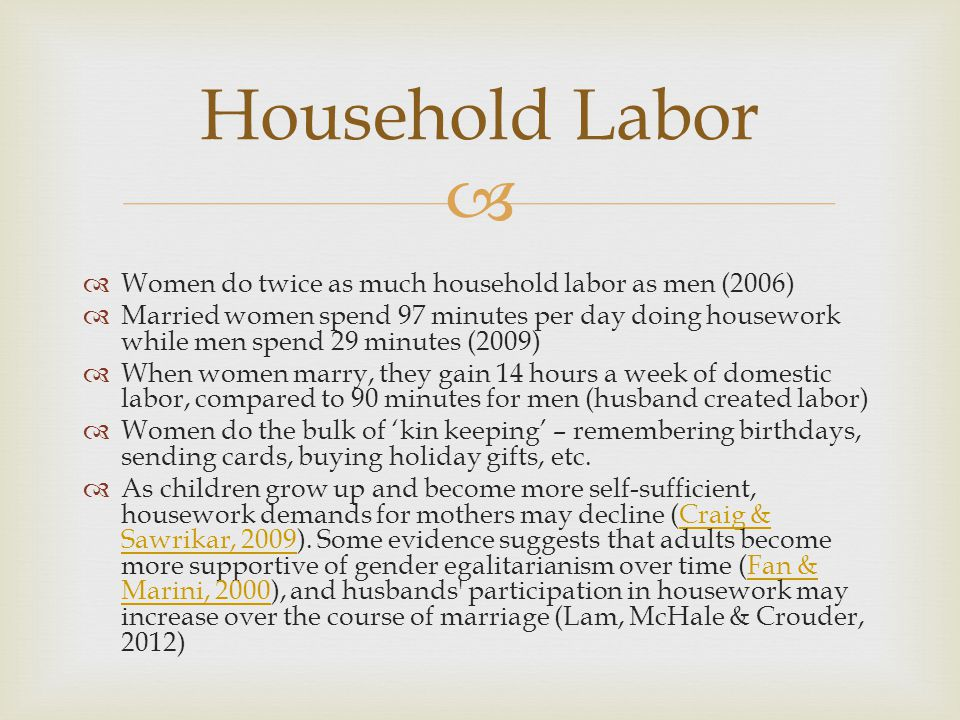 Women do twice as much household labor as men (2006) Married women spend 97 minutes per day doing housework while men spend 29 minutes (2009) When women marry, they gain 14 hours a week of domestic labor, compared to 90 minutes for men (husband created labor) Women do the bulk of kin keeping – remembering birthdays, sending cards, buying holiday gifts, etc.