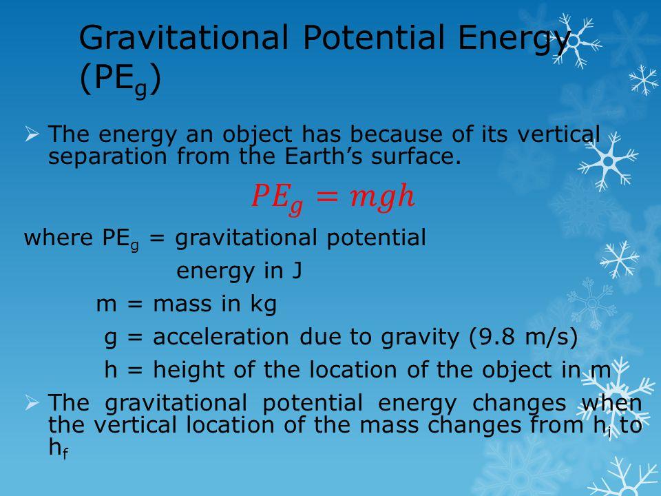 Gravitational Potential Energy (PE g )