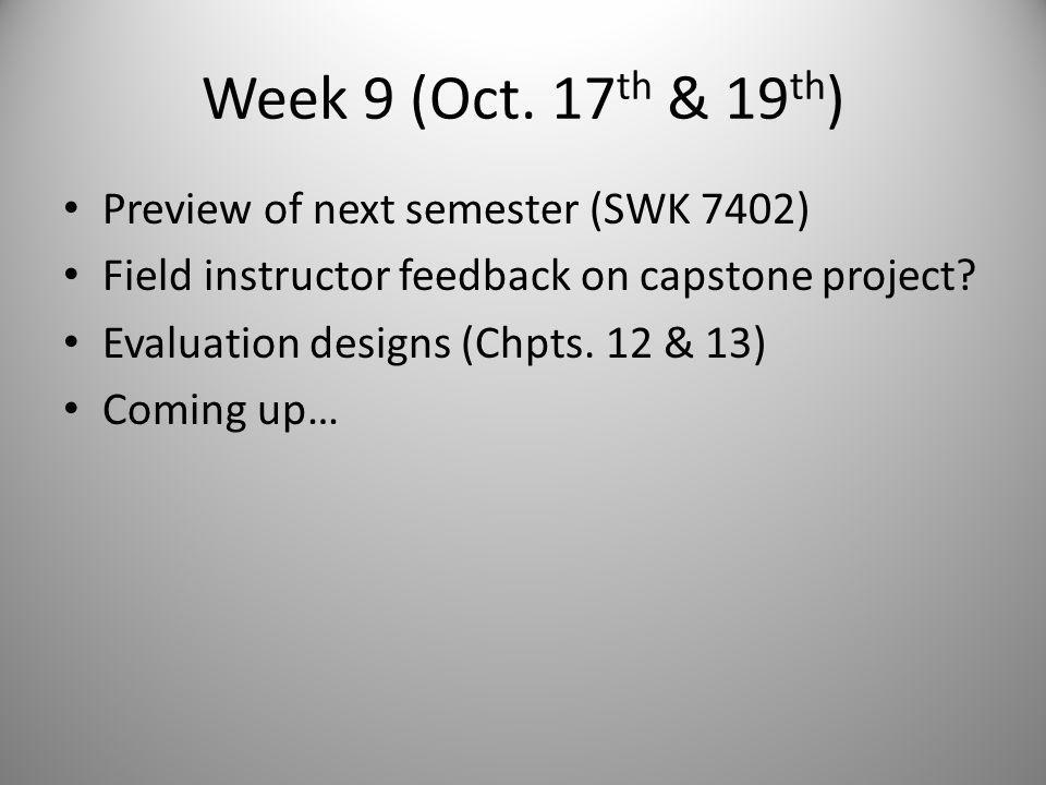 Field Instructor Briefing & Next Week Email and/or print capstone project briefing packet and discuss with field instructor during next supervision meeting – Carmen – Content – Other – Field instructor capstone packet – Cover letter; 4 overview slides; proposal rubric; syllabus; and, sample clinical practice evaluation report (progressive relaxation and bulimia article) Emphasize NOT research, rather clinical practice evaluation/field education project Next week: Chpts.