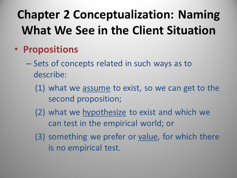Chapter 2 Conceptualization: Naming What We See in the Client Situation Concept – Also known as a construct – An arbitrarily constructed general term derived from some class of events – Serves as a building block for larger conceptual terms (e.g., propositions, theories) and as a link to the information network where you can find evidence-based practice ideas (Britner & Bloom)
