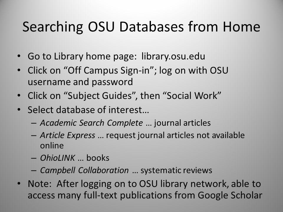 Academic Search Engines and Databases Identify key words or search terms.