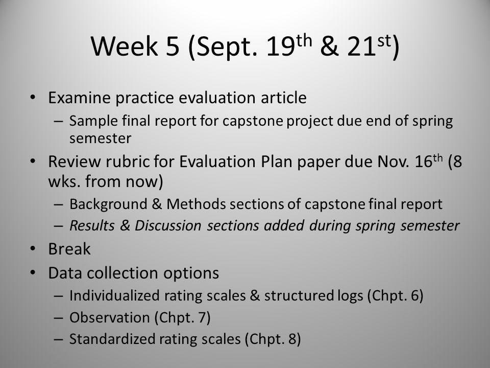 Homework Due Sept 19 th & 21st Read Chapter 6 and answer Discussion Questions Develop 1-3 graphs summarizing your work with your memorable client, including data as best you can remember – Should related to Intervention Theory diagram and resemble Figs.