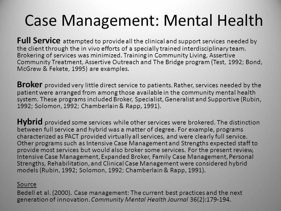 Case Management: Inpatient Health Source Taylor (1999).
