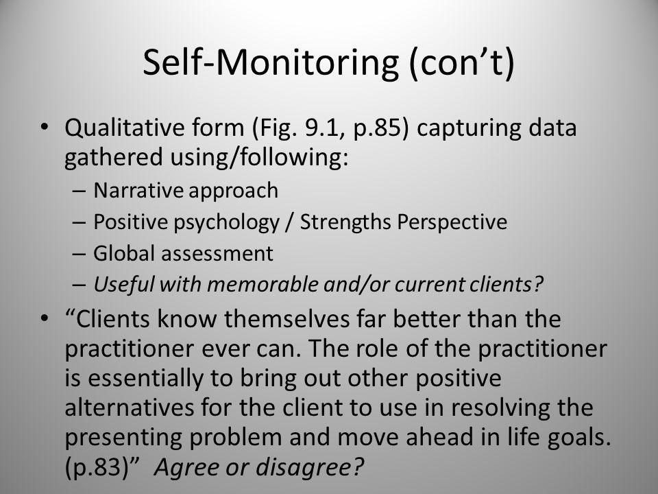 Self-Monitoring (SM) Definition: client involved in observing & measuring some aspects about him/herself – Applicable when using structured logs and individualized rating scales (Chpt.