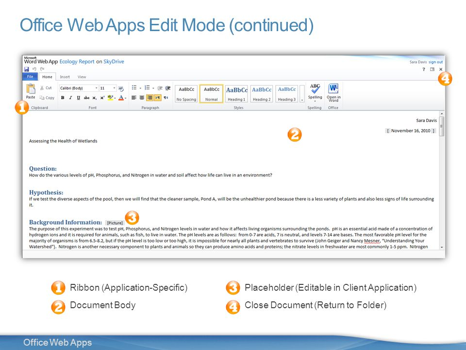 12 Office Web Apps Office Web Apps Edit Mode (continued) Ribbon (Application-Specific) Document Body Placeholder (Editable in Client Application) Close Document (Return to Folder)