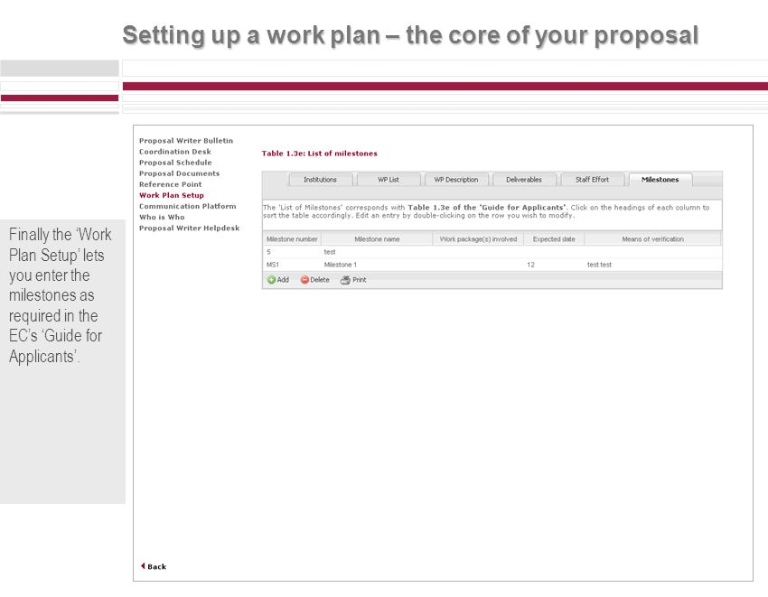 Setting up a work plan – the core of your proposal Scroll over the information icons to find out more, about the data you should enter.