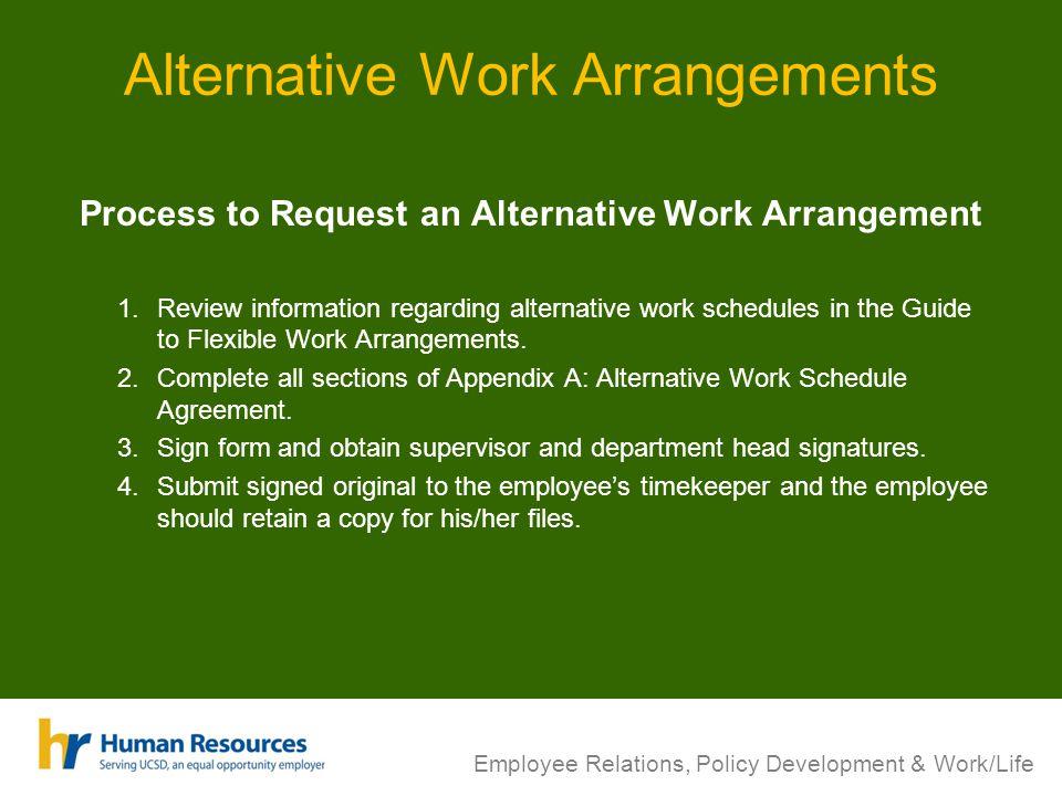 Alternative Work Arrangements Process to Request an Alternative Work Arrangement 1.Review information regarding alternative work schedules in the Guide to Flexible Work Arrangements.