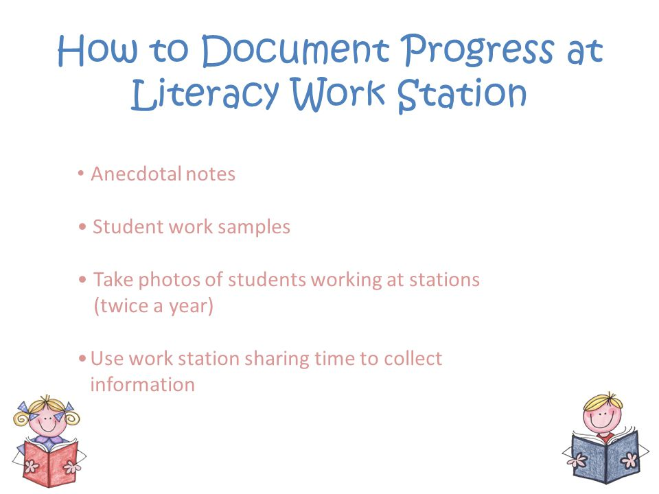 How to Document Progress at Literacy Work Station Anecdotal notes Student work samples Take photos of students working at stations (twice a year) Use