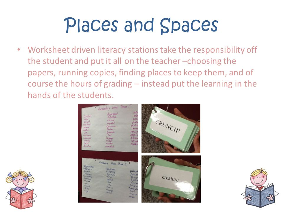 Places and Spaces Worksheet driven literacy stations take the responsibility off the student and put it all on the teacher –choosing the papers, runni