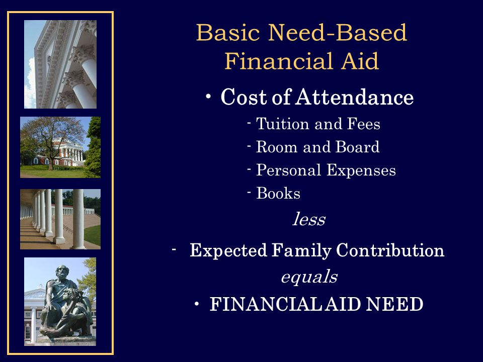 Basic Need-Based Financial Aid Cost of Attendance - Tuition and Fees - Room and Board - Personal Expenses - Books less -Expected Family Contribution e